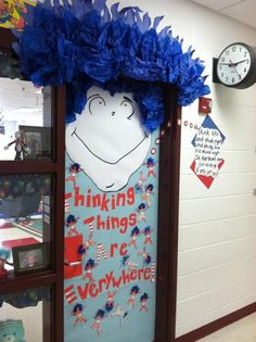 """Dr Seuss activities:  """"Thinking Things are Everywhere!"""" Classroom door for Dr. Seuss week."""