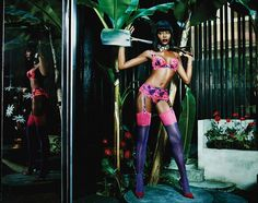 Naomi Campbell for Agent Provocateur Spring 2015 Campaign  #lingerie #fashion