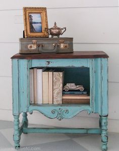 All you really need to completely transform a worn out piece of furniture like this radio cabinet - a little aqua paint and some stain. And yes, you actually can get a gorgeous finish painting furniture with latex paint.