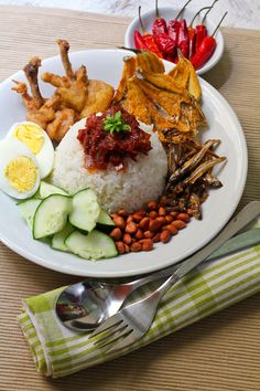 One of our favourites: Nasi Lemak (Malaysian Coconut Milk Rice with Anchovies Sambal)
