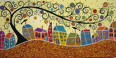 Houses Birds And A Swirl Tree Painting by Karla G by karlagerard, via Flickr