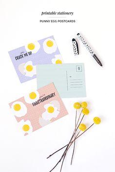 Free printable punny egg postcards