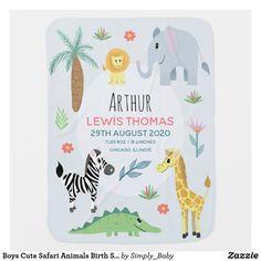 Boys Cute Safari Animals Birth Stats & Name Baby Blanket Safari Party, Safari Theme, Safari Nursery, Nursery Art, Nursery Ideas, Nursery Decor, It's A Boy Announcement, Soft Baby Blankets, Baby Store