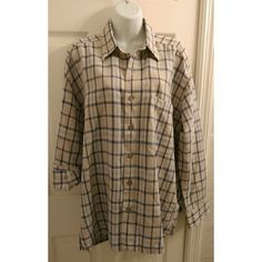 Vintage oversized plaid button down shirt Vintage oversized plaid button down shirt. Size medium. Will measure if anyone is interested.   Material: 55% linen, 45% cotton. In very good condition.  #oversizedshirt #plaidshirt #vintageshirt quick reflex Tops Button Down Shirts
