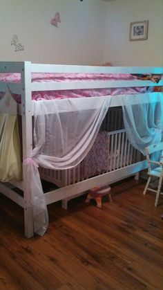 Attractive Toddler Bunk Bed With Crib Underneath Turned Princess Bed Part 30