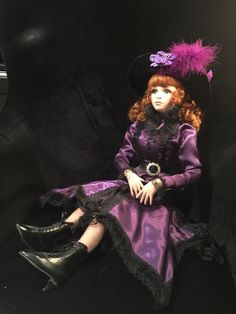 Pearl by Jan McLean 24  Porcelain Doll Red Hair Purple dress COA & box