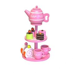 Gorgeous wooden toy high tea set, perfect for your next tea party! The High Tea Set has a 3 layer stand with tea pot and 2 teacups and 6 different cakes to share. Wooden Toys Australia, Childrens Tea Sets, Buy Gifts Online, Gifts Australia, Different Cakes, Play Food, High Tea, Tea Time, Gifts For Kids