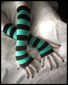 Rain's Embrace Long Arm Warmers in Turquoise Teal and Black Stripes