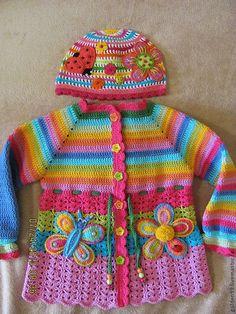 Crochet Baby Sweaters, Crochet Baby Cardigan, Baby Cardigan Knitting Pattern, Baby Hats Knitting, Crochet Baby Clothes, Baby Knitting Patterns, Bobble Stitch Crochet, Gilet Crochet, Crochet Coat