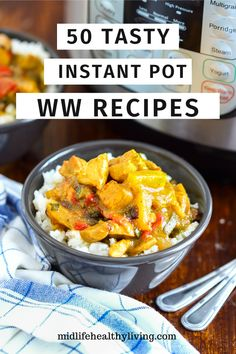 50 WW Instant Pot Recipes Making healthy meals that the whole family will love is simple and quick thanks to these 50 Weight Watchers Freestyle Instant Pot recipes. There's something for everyone, from breakfast right on through to dessert! Healthy Crockpot Recipes, Ww Recipes, Healthy Meals, Cooking Recipes, Skillet Recipes, Cooking Gadgets, Pizza Recipes, Cooking Ideas, Soup Recipes
