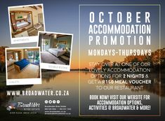 Happy October! Kicking off with our new midweek special 🤩 Monday to Thursday | All month | 🛏️ Stay over at our lovely accommodation for x2 nights & get a R150 voucher to use at our restaurant! 🥘 •  •  •  •  •  •  •  •  •  #accommodation #placestostay #camping #nature #travel #adventure #outdoors #camp #love #wanderlust #landscape #photooftheday #sunset #roadtrip #fishing #sky #naturelovers #restaurant #weddings #broadwater #guesthouse #trip