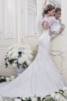 2014 Fashion Mermaid Long-Sleeve lace Wedding Dresses #ShopSimple