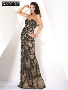 Vestido tomara que caia em tule bordado com paetes Grace 7211 : Dstore Miami, Vestidos de Festa Importados