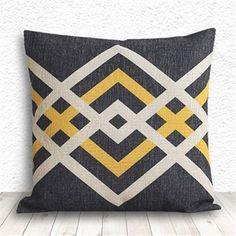 coussin geometrique - noir et jaune