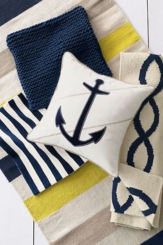 Nautical - White, navy blue, and yellow