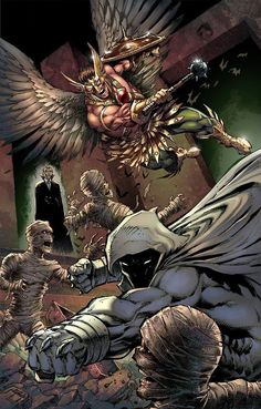 Moon Knight & Hawkman by Jason Metcalf Comic Book Characters, Marvel Characters, Comic Character, Comic Books Art, Comic Art, Marvel Comics, Marvel Vs, Knight Art, Moon Knight