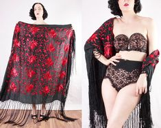 1910 Piano Shawl red and black floral fringe flapper dapper