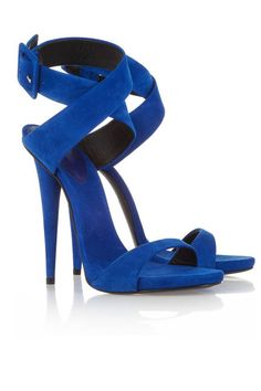 Blue, Aquazzura Amazon Electric Blue Snake Strappy Lace Up Sandals, $749.38; my-wardrobe.com    Read more: Womens Designer Heels And Pumps - Womens Summer Heels  Follow us: @ElleMagazine on Twitter | ellemagazine on Facebook  Visit us at ELLE.com
