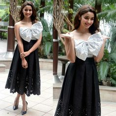 Alia Bhatt wearing white and black bow outfit by Bambah Boutique