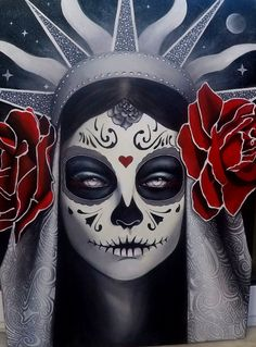 Day of the Dead Black&White Sugar Skull  60x40, acrylic paint