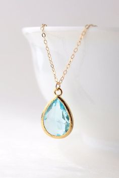 Aqua Blue / Gold Teardrop Necklace Aquamarine by ForTheMaids