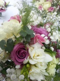 Pink Roses and white Freesias, by Lily King Weddings