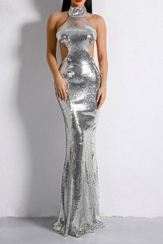 ccd466e7b03 Honey Couture MONICE Silver Cut Out Halter Neckline Sequin Formal Gown Dress