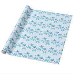 Blue Bear with Sign Merry Christmas wrapping paper