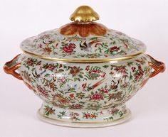 Rare 18th C Rose Medallion & Butterfly Three Part Admiral Dewey Family Covered Soup Tureen C 1785