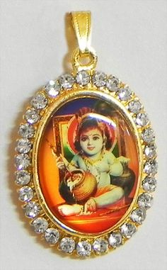 Stone Studded Bal Gopal Pendant (Metal))