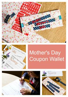 """These printable Mother's Day """"coupons"""" will work for writing and pre-writing kiddos alike. Pretty & easy to make! Sparkle Stories, Mother's Day Coupons, Sparkle Crafts, Pre Writing, Printables, Wallet, Pretty, Easy, How To Make"""