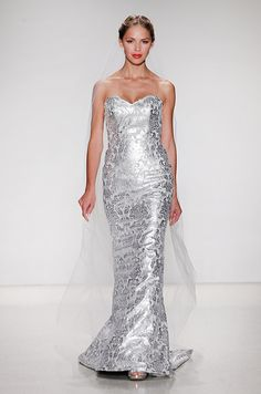 Beautiful strapless metallic wedding dress by Kelly Faetanini, Fall 2015