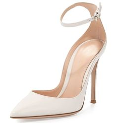 """Patent Low-Collar Ankle-Wrap Pump by Gianvito Rossi. Gianvito Rossi patent leather pump. 4.3"""" covered heel. Pointed toe. Low-dipped collar. Adjustable ankle strap. Smooth..."""