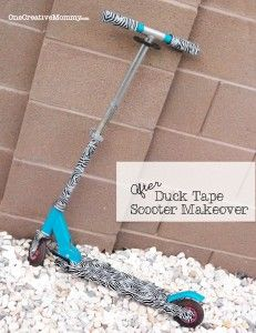 Duck Tape Scooter Makeover {Don't throw away that faded scooter. Give it a fresh new look with duck tape! This scooter went from Barbie to all grown up! Duct Tape Projects, Duck Tape Crafts, Diy Projects, Crafts For Teens, Fun Crafts, Toys Land, Kids Growing Up, Pet Rocks, Locker Storage