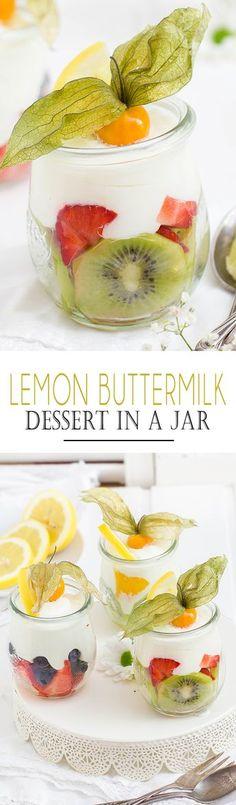 Lemon Buttermilk Dessert in a Jar with fresh fruits // Zitronen Buttermilch Dessert im Glas mit frischen Früchten