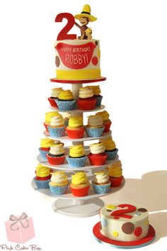 Robby's 2nd Birthday Cupcake Stand!  Happy Birthday Robby!