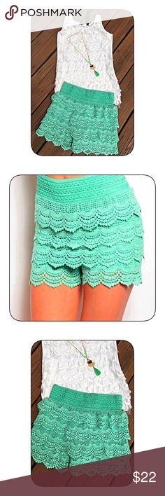 Adorable mint green crochet shorts! Overlapping layers of crochet detail with elastic banded waist and scalloped hemline! Shorts