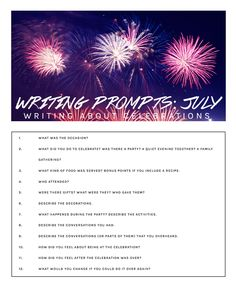 July writing prompts: Writing about celebrations (journaling, journal writing, journal prompts, blogging prompts, what to write about)