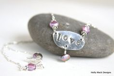 Handcrafted necklace made of PMC, love charm, wire wrapped lavender freshwater pearls, sterling silver chain, Mother Day Gift