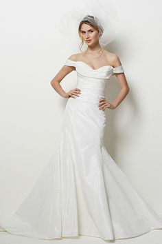 Watters Brides San Diego Gown - Silk taffeta dress with off the shoulder neckline, covered buttons, fit and flare skirt with sweep train