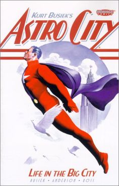 Life in the Big City (Astro City, Vol. 1) by Kurt Busiek http://www.amazon.com/dp/156389551X/ref=cm_sw_r_pi_dp_I6XTvb1YZ6NCD