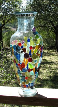 Glue for Glass Garden Totems | Glass on glass totem - work in progress - Stained Glass & Mosaics ...