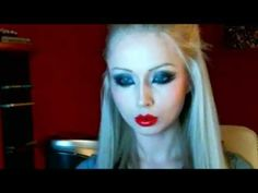 "She's super creepy, but good ""doll"" makeup for fancy dress. ▶ Valeria Lukyanova Amatue MakeUp - gothic - YouTube"