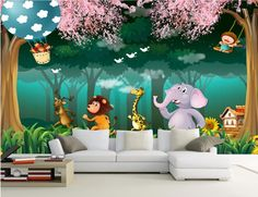Custom mural photo 3d wallpaper Forest animal cartoon children's room home decor painting 3d wall murals wallpaper for wall 3 d #Affiliate