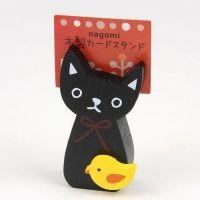 NAGOMI 우드 카드스탠드 ※ 일본 고양이 캐릭터 예쁜 나무 메모 홀더 명함꽂이 집게 클립 꽂이