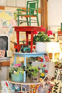 Fresh Vintage look, painted chairs, tables, furniture for cottage style home decor; Upcycle, recycle, salvage, diy, repurpose!  For ideas and goods shop at Estate ReSale & ReDesign, Bonita Springs, FL