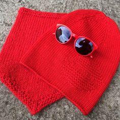 Купить Комплект вязаный шапка бини и снуд ковбойка - ярко-красный, однотонный, шапка вязаная