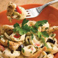 Summer Tortellini Salad Recipe Salads with cheese tortellini, cooked chicken, green olives, sliced black olives, red bell pepper, sweet onion, fresh parsley, mayonnaise, red wine vinegar, herbes de provence, canola oil, salt, parsley sprigs
