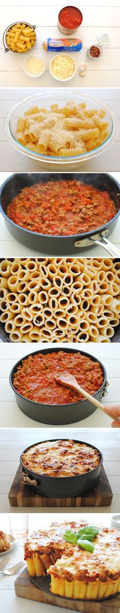 Pasta Pie - This is Amazing!  With the enthusiasm my children showed for this recipe, you would have thought I reinvented the wheel. Ragatoni standing at attention - FANTASTIC!