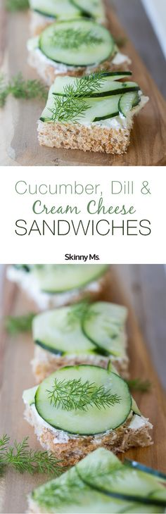 We're going ultra-lightweight and super refreshing with our Cucumber, Dill and Cream Cheese Sandwiches on Whole Wheat Toast. #cucumberdillsandwiches #sandwichrecipes